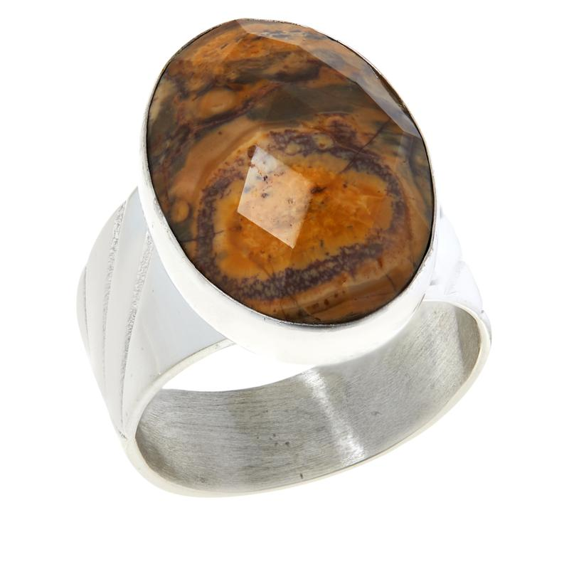 Jay King Sterling Silver Multi-Color Shitake Stone Oval Ring