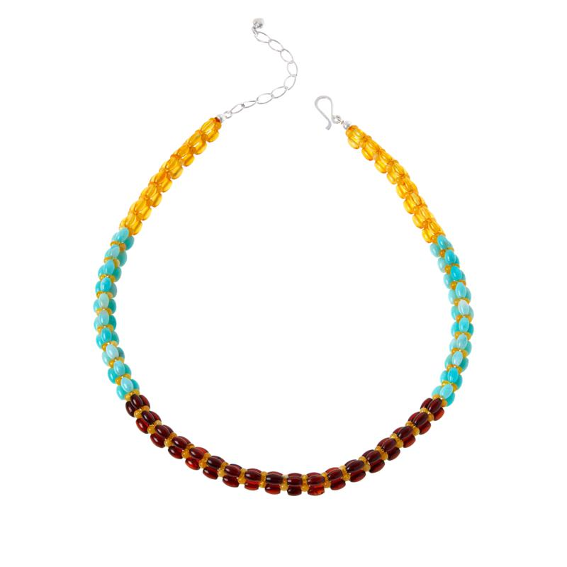 Jay King Sterling Silver Multi-Gemstone Woven Bead Necklace