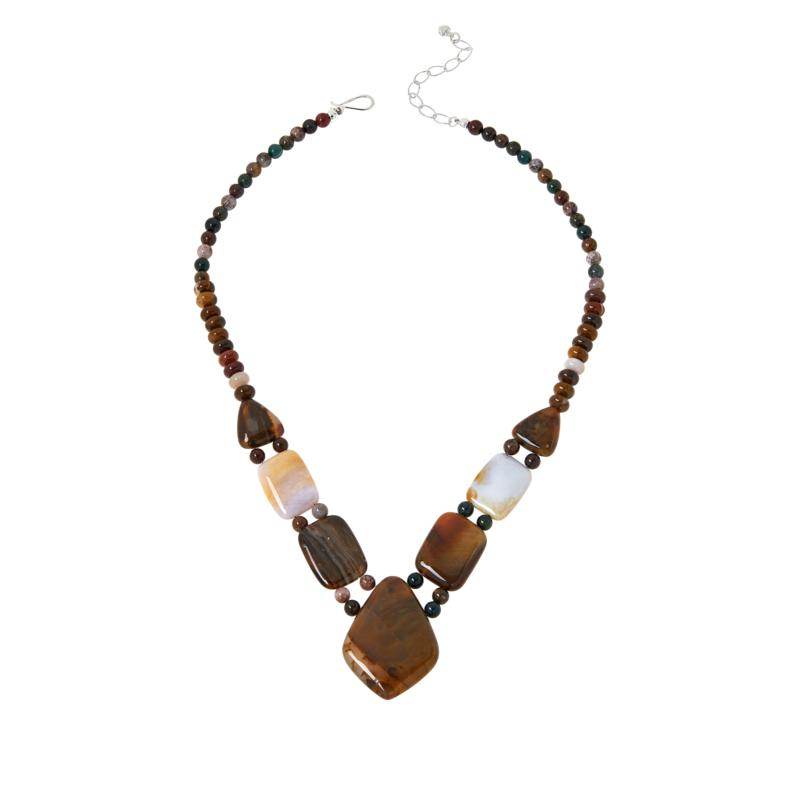 Jay King Sterling Silver Opal in Chalcedony and Jasper Necklace