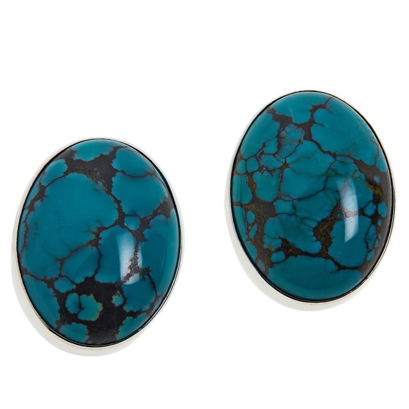 Jay King Sterling Silver  Oval Hubei Turquoise Earrings