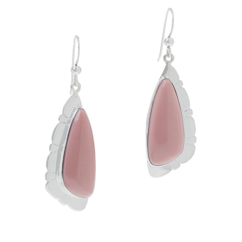 Jay King Sterling Silver Pink Opal Freeform Drop Earrings