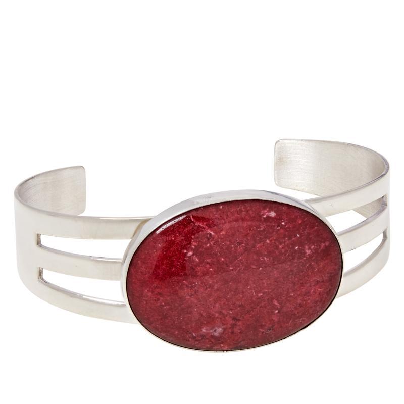 Jay King Sterling Silver Pink Thulite Cuff Bracelet