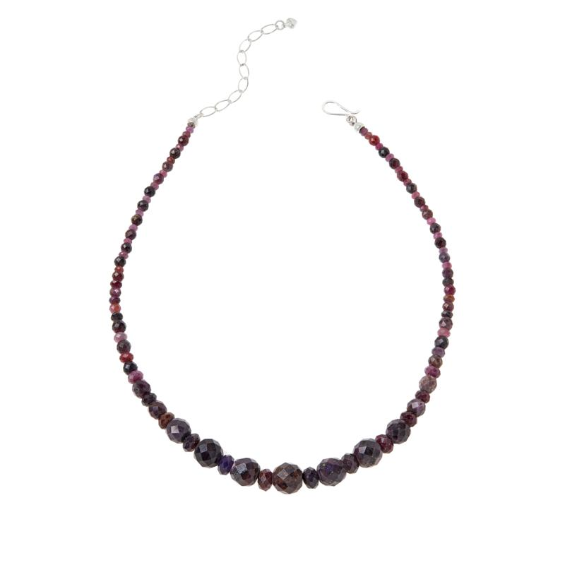 Jay King Sterling Silver Raspberry Sapphire Graduated Bead Necklace