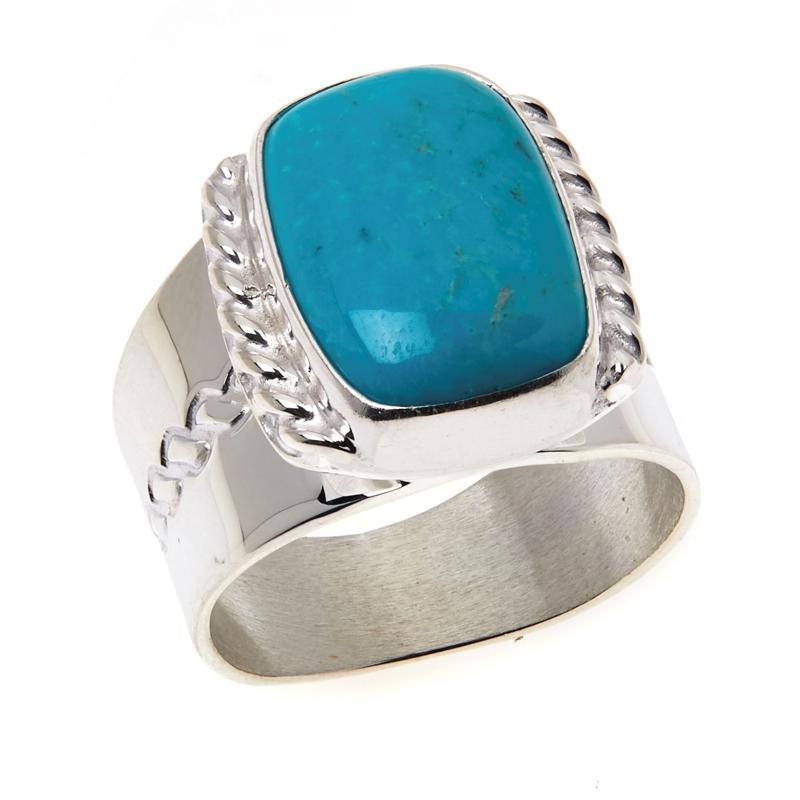 Jay King Sterling Silver Rectangular Angel Peak Turquoise Ring