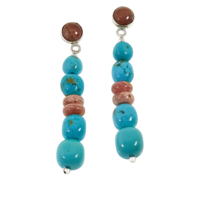 Jay King Sterling Silver Rhodochrosite and Turquoise Drop Earrings