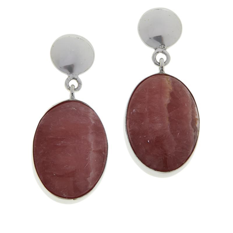 Jay King Sterling Silver Rhodochrosite Oval Drop Earrings