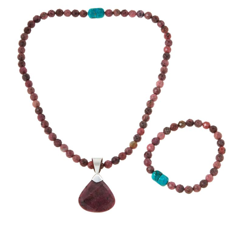 Jay King Sterling Silver Rhodonite Pendant with Convertible Necklace