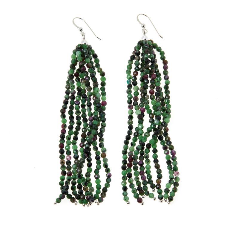 Jay King Sterling Silver Ruby Zoisite Multi-Strand Tassel Earrings
