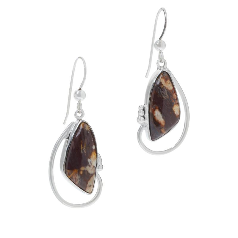 Jay King Sterling Silver Shitake Stone Drop Earrings