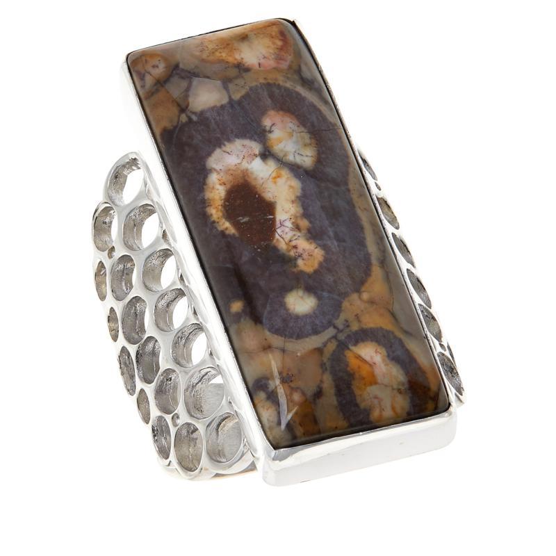 Jay King Sterling Silver Shitake Stone Rectangular Ring