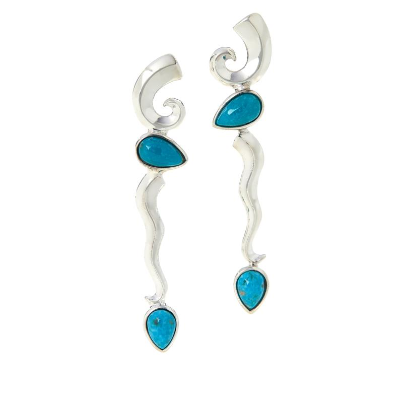 Jay King Sterling Silver Sonoran Blue Turquoise Dangle Earrings