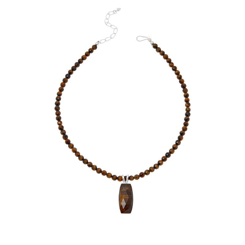 Jay King Sterling Silver Tiger's Eye Quartz Pendant with Bead Necklace