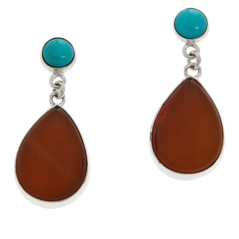 Jay King Sterling Silver Turquoise and Jelly Opal Drop Earrings