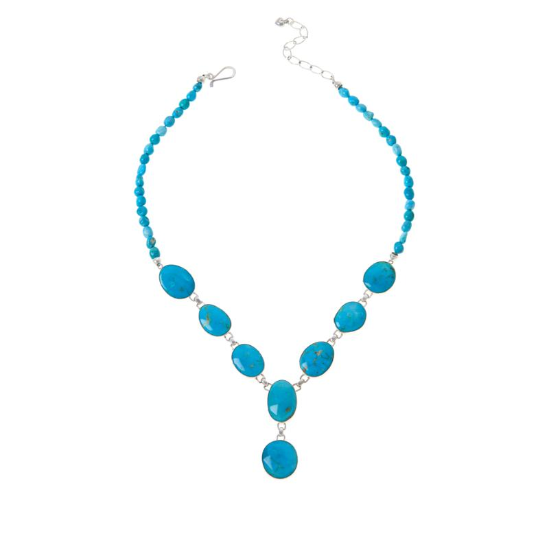 Jay King Sterling Silver White Cloud Turquoise Station Necklace