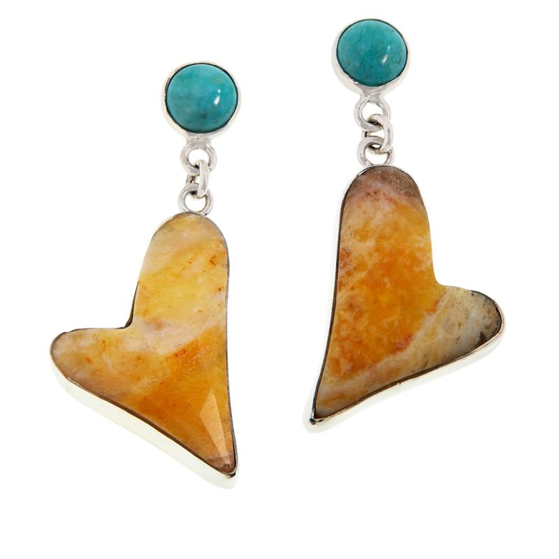 Jay King Sterling Silver Yellow Opal and Turquoise Heart Drop Earrings