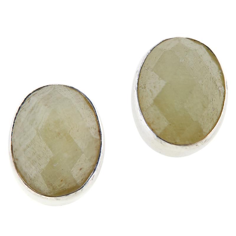 Jay King Sterling Silver Yellow Opal Oval Earrings