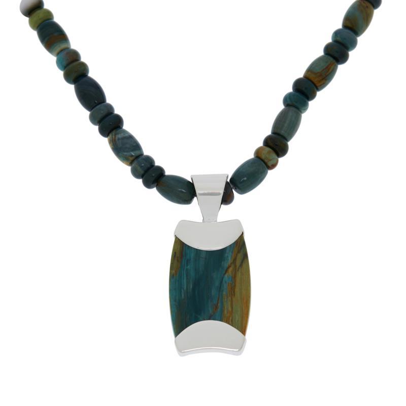 Jay King Swamp Bog Petrified Wood Pendant with Necklace