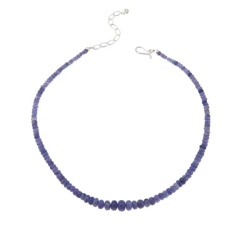 """Jay King Tanzanite Bead 18"""" Sterling Silver Necklace"""