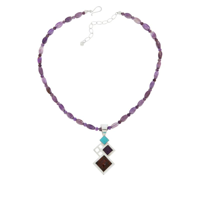 Jay King Turquoise, Amber and Amethyst Pendant and Necklace