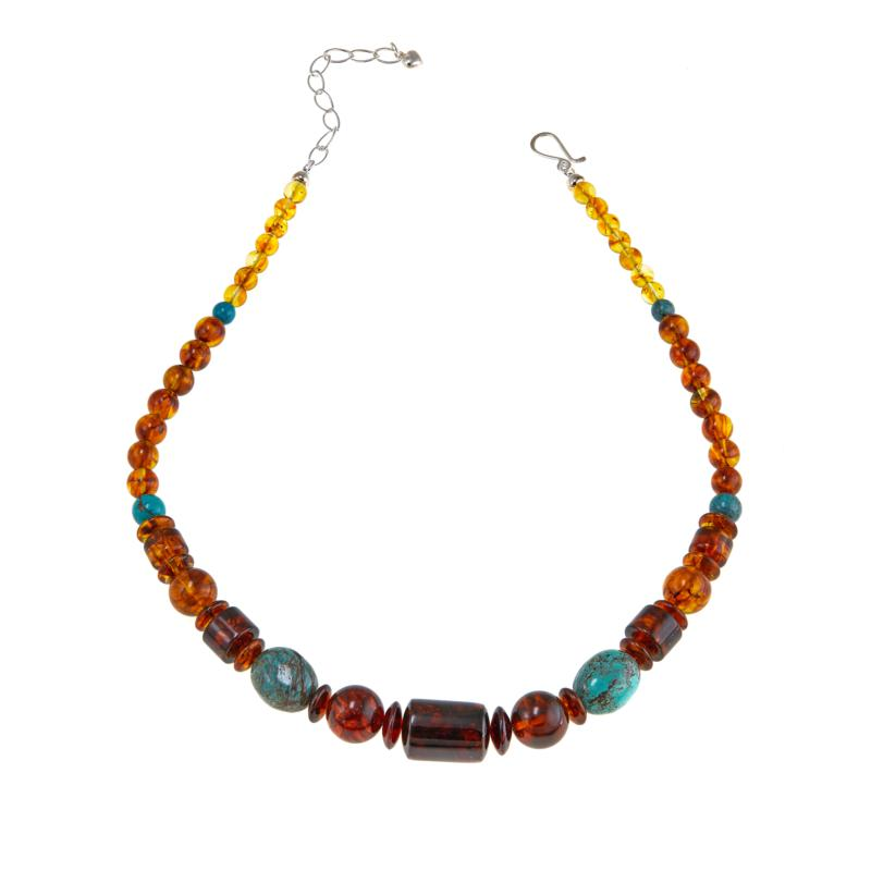 "Jay King Turquoise and Amber Sterling Silver Beaded 18"" Necklace"