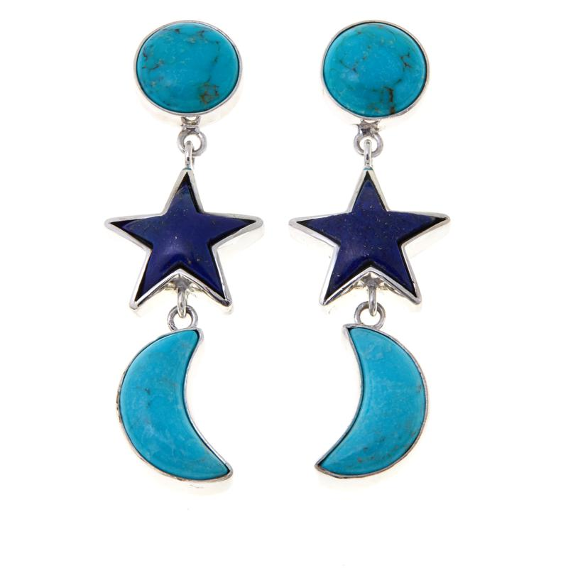 Jay King Turquoise and Lapis Moon and Star Earrings