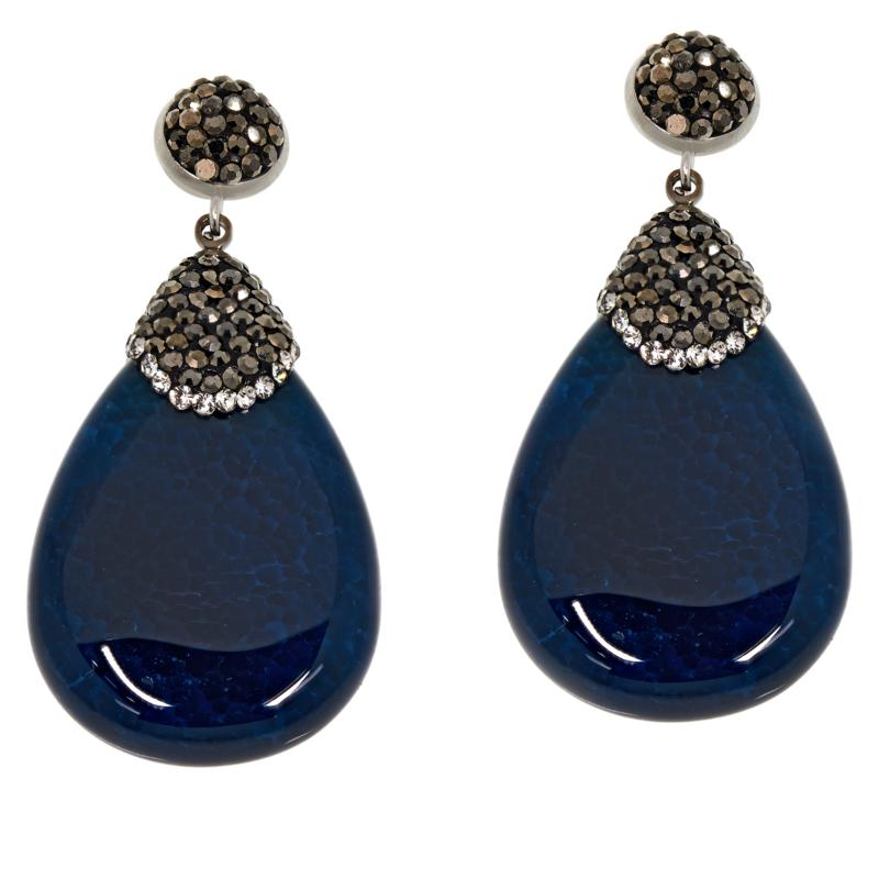 JK NY Faceted Pear Agate Pavé Drop Earrings