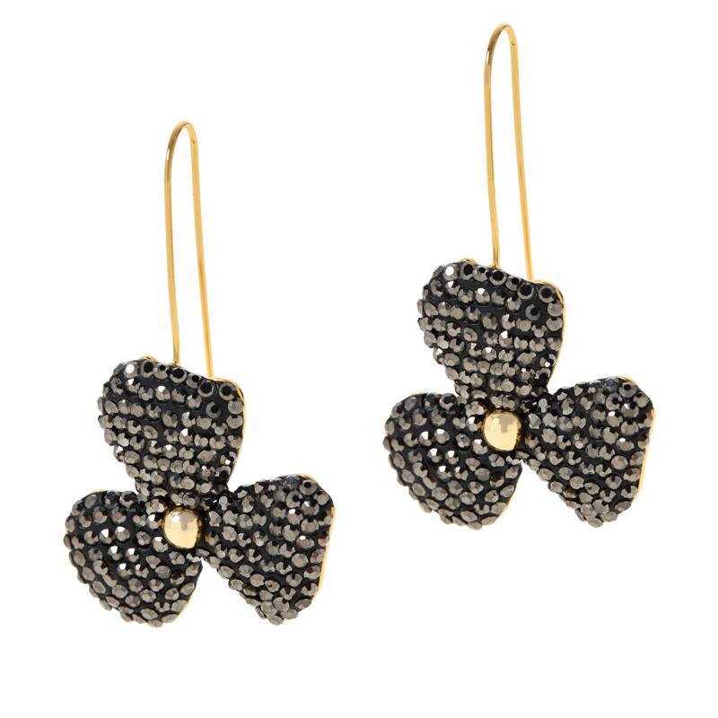 JK NY Pavé Stone Handcrafted Flower Earrings