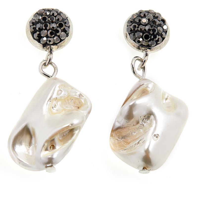 JK NY Simulated Pearl Pavé Drop Earrings