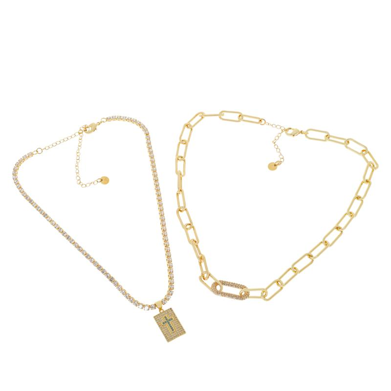JK NY Tennis and Paperclip Chain Necklace 2-piece Set