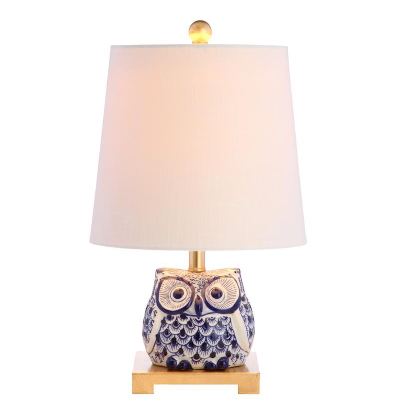 """JONATHAN Y Blue White Justina 16"""" Ceramic Mini LED Table Lamp"""