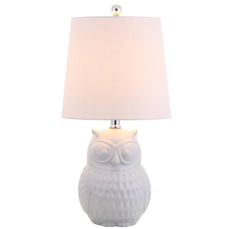 "JONATHAN Y White Owl Hoot 20.5"" Ceramic Mini LED Table Lamp"