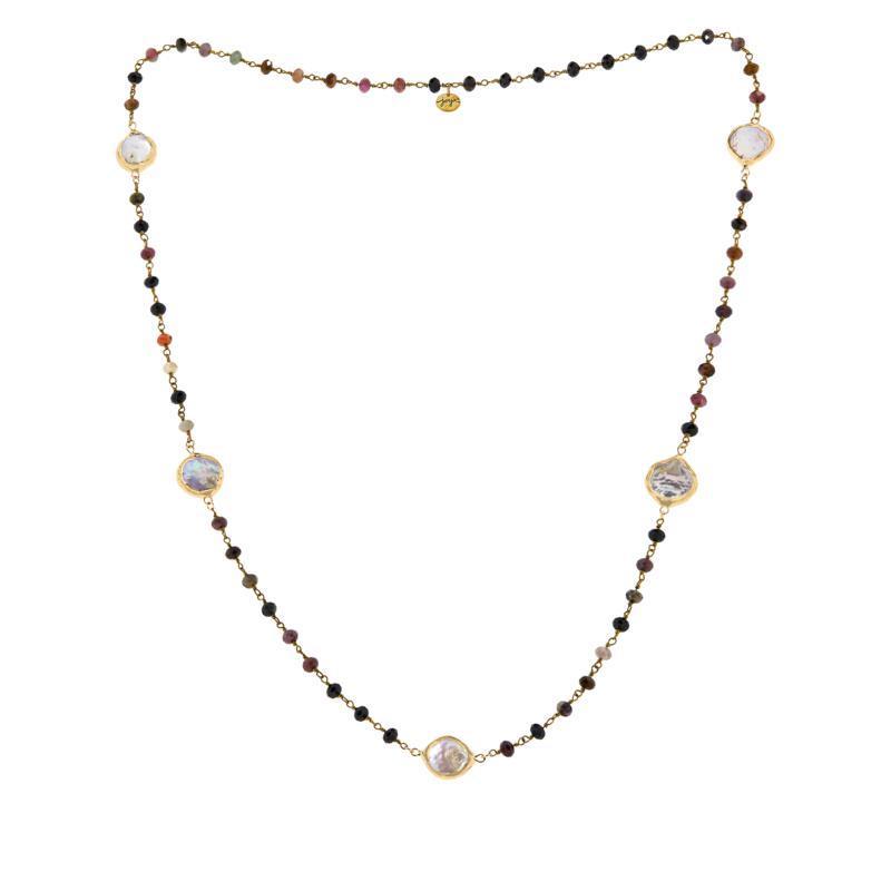 "Joya 34"" Goldtone Multi-Gemstone Bead Station Necklace"