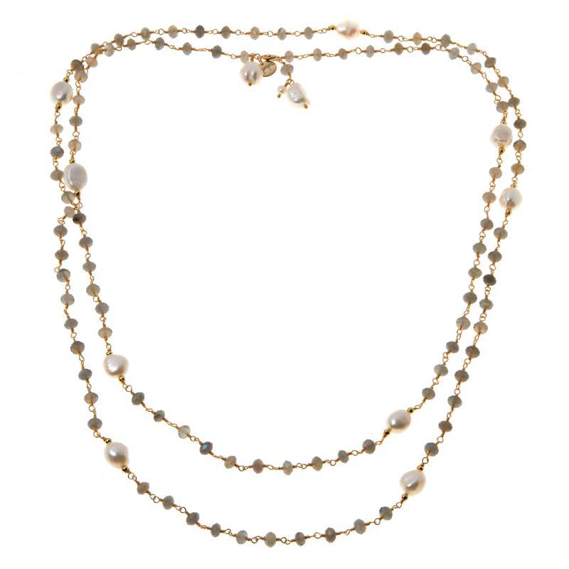 Joya Goldtone Gemstone and Freshwater Pearl Necklace