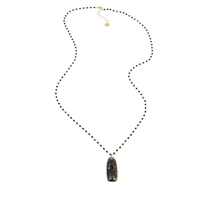 Joya Goldtone Rutilated Quartz and Onyx Bead Necklace