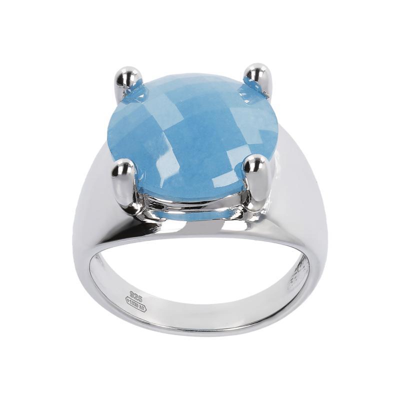 Joyelle Sterling Silver Blue Quartz Briolette Solitaire Ring