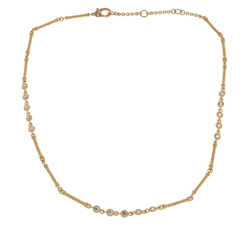 """Judith Ripka 18"""" Sterling Silver Diamonique® Station Chain Necklace"""