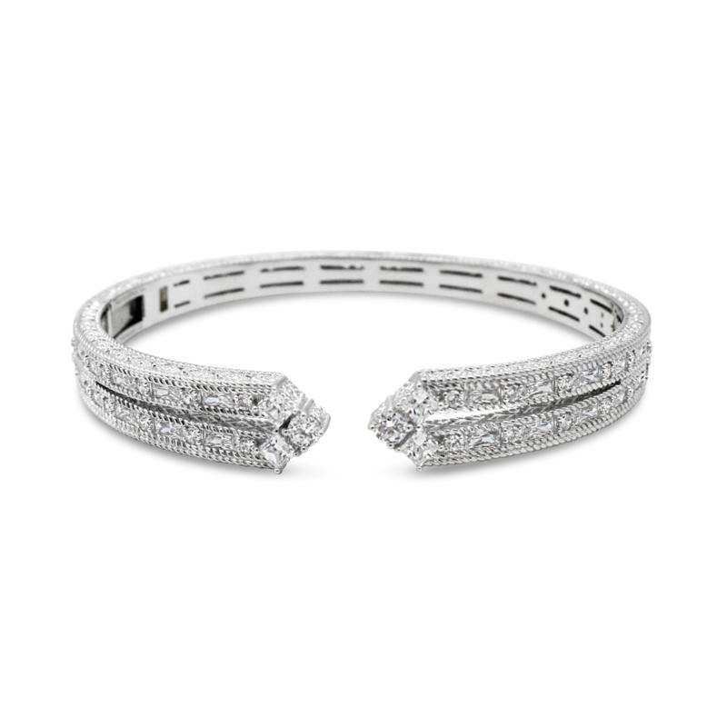 Judith Ripka Sterling Silver Diamonique® Split-Top Cuff Bracelet