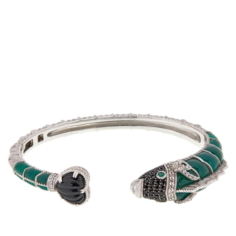 Judith Ripka Sterling Silver Fiona Fish Multi-Gemstone Cuff Bracelet