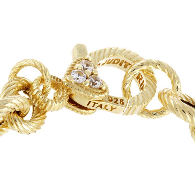 "JUDITH RIPKA 14K GOLD CLAD SS VERONA OVAL /& CIRCLE 7/"" LINK BRACELET RET $181"