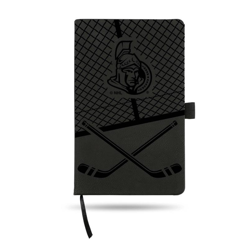 Laser-Engraved Black Notepad with Elastic Band - Senators