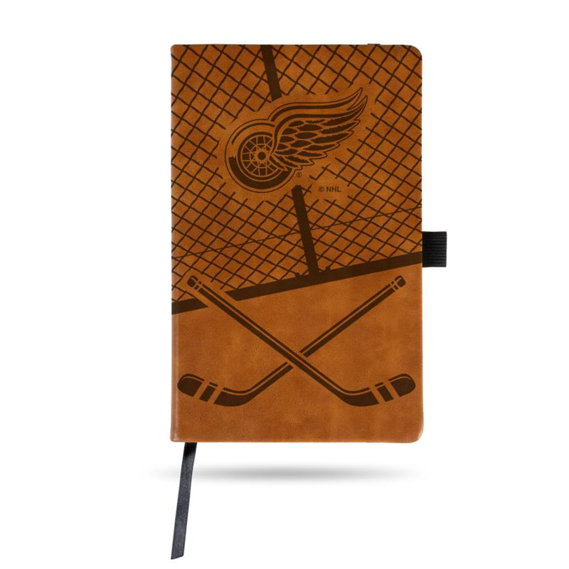Laser-Engraved Brown Notepad with Elastic Band - Red Wings