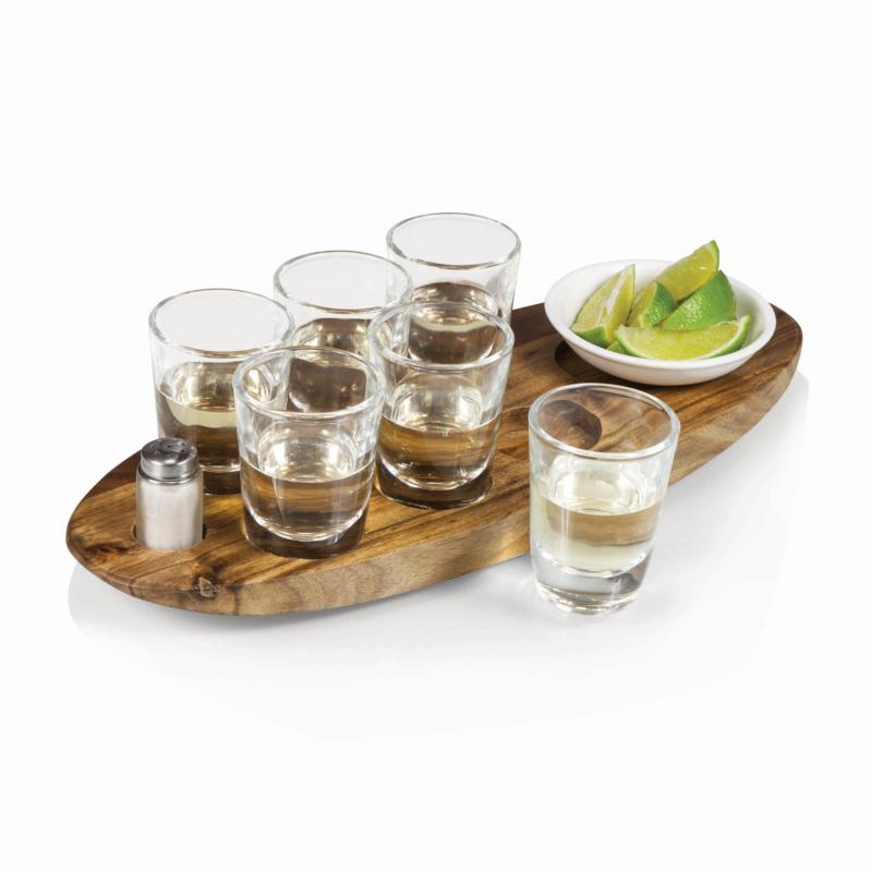 Legacy by Picnic Time Cantinero Shot Glass Set (Acacia Wood)