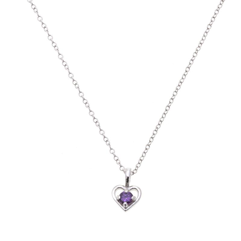 """Lily Nily Girl's .12ctw Amethyst Heart Pendant with 13"""" Chain"""