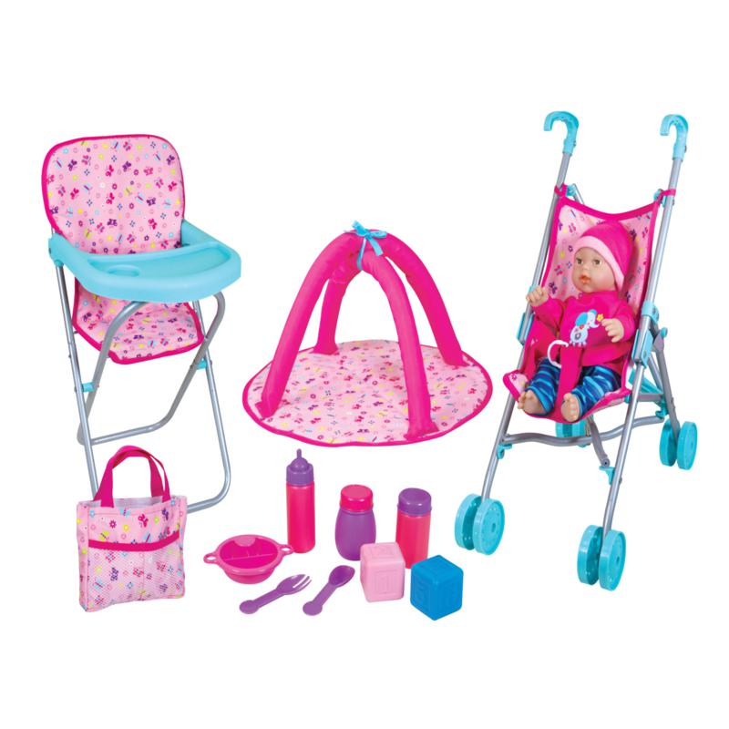"""Lissi 12"""" Baby Doll with Umbrella Stroller Playset"""