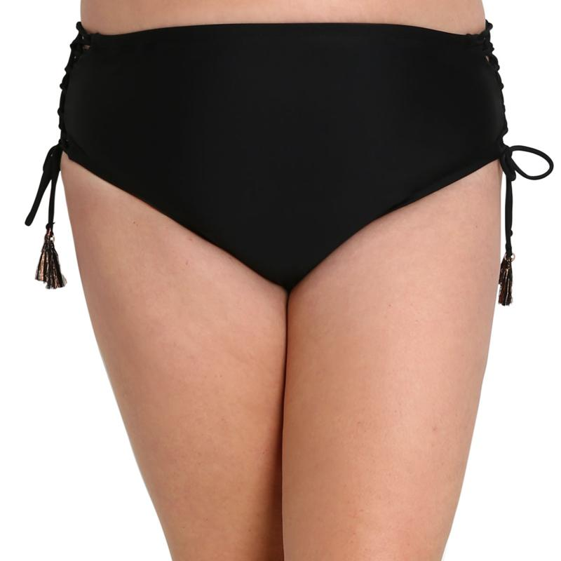 Lysa Solid Lace Up High Rise Bikini Bottom