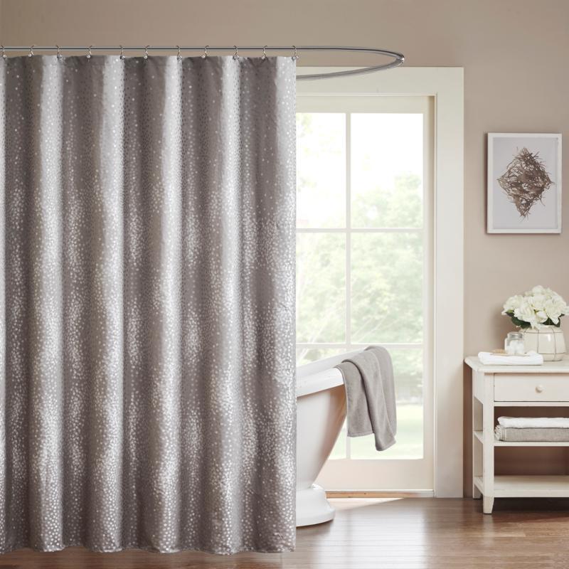 "Madison Park Quinn Shower Curtain - Gray/72"" x 72"""