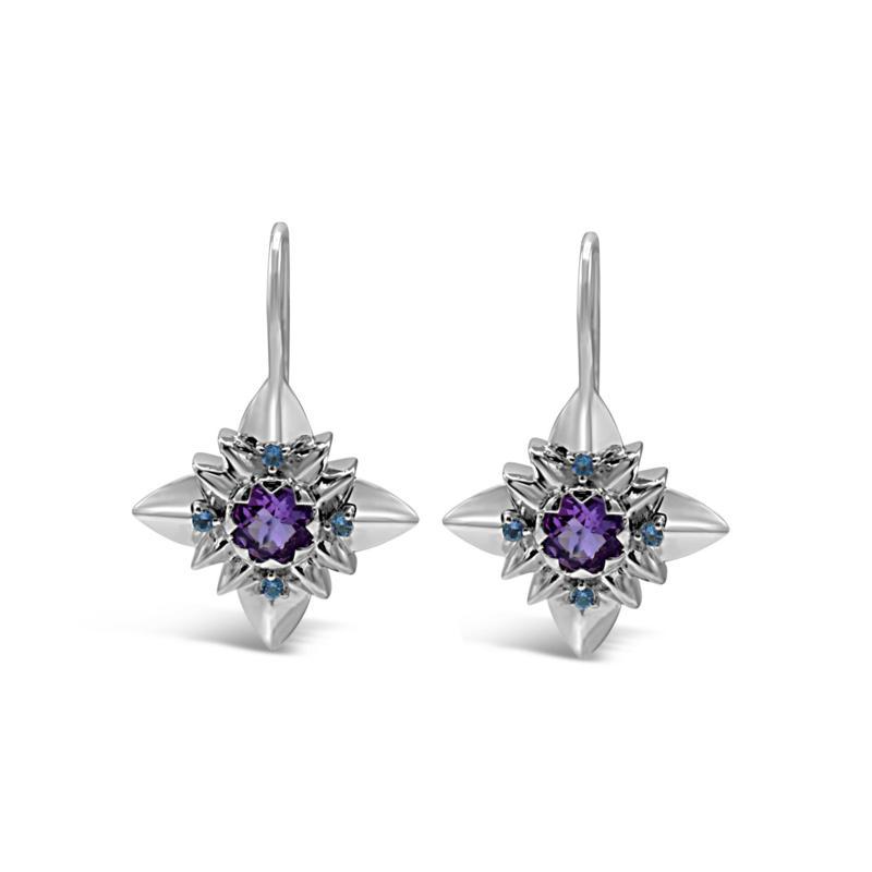 Margo Manhattan Sterling Silver Amethyst and Blue Topaz Earrings