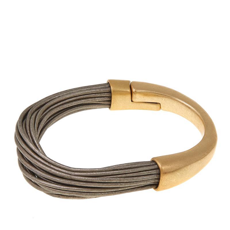 MarlaWynne Black Faux Leather Multi-Strand Mixed-Media Bangle Bracelet