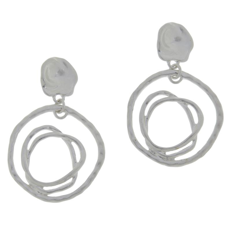 MarlaWynne Hammered Open Freeform Circle Drop Earrings