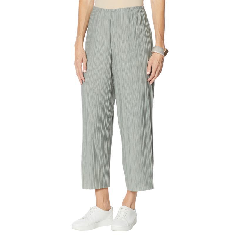 MarlaWynne Plisse Knit Wide-Leg Crop Easy Pant